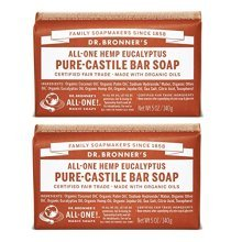 Dr. Bronners Pure-Castile Bar Soap - Eucalyptus, 5oz. (2 Pack)