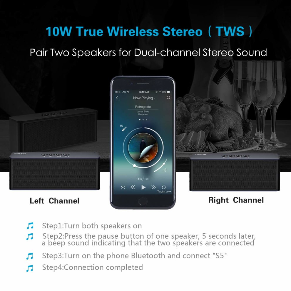ZoeeTree S5 Wireless Bluetooth Speaker, Built-In Dual Driver Speakerphone,  HD Audio and Enhanced Bass, Built-in Mic, Outdoor Speakers for iPhone,