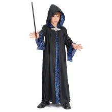 Large Black Childrens Wizard Robe -  wizard robe costume fancy dress boys outfit large WIZARD ROBE LARGE MAGICIAN BOYS FANCY DRESS COSTUME KIDS BOOK
