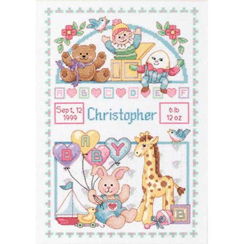 "Dimensions Counted Cross Stitch Kit 10""X14""-Birth Record For Baby (14 Count)"