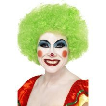 Smiffys Crazy Clown Wig - Green -  wig clown fancy dress afro green crazy smiffys unisex curly circus costume ladies
