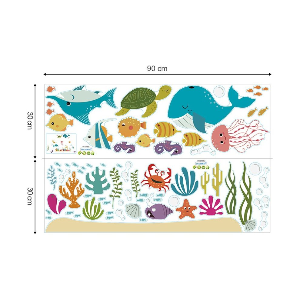 3456188f5f ... decalmile Under the Sea Dolphin Fish Wall Stickers Kids Room Wall Decor  Vinyl Peel and Stick ...