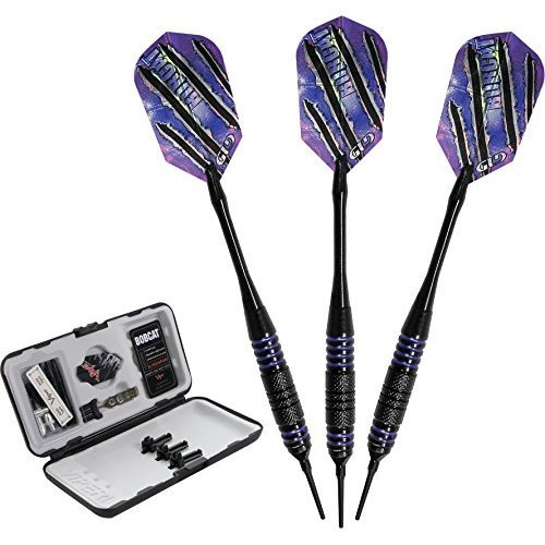 Viper Bobcat Adjustable Weight Soft Tip Darts with Storage/Travel Case: Black Coated Brass, Purple Rings, 16-18 Grams