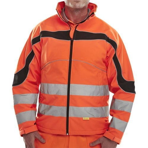 Click ET41ORXXL Hi Vis Orange Eton Water Resistant And Windproof Soft Shell Jacket XXL