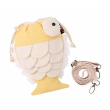 Creative Cute Canvas Messenger Bag Cosmetics Drawstring Handbag Fish Yellow