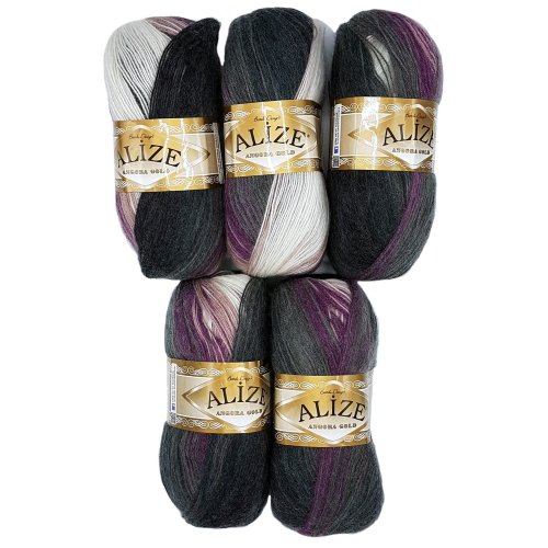 5?x 1986?500?Gram Alize Knitting Yarn 100?g Colour Gradient Berry Purple Grey White Scarf with Mohair