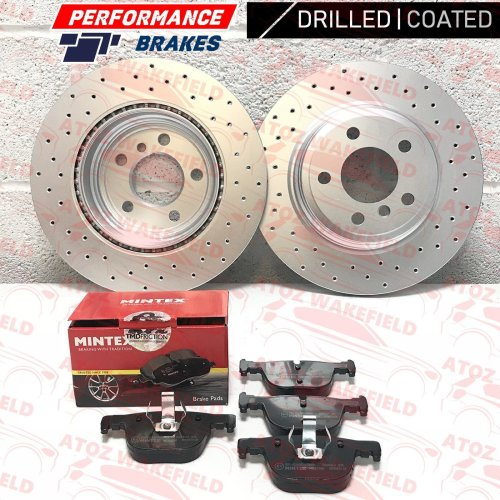 FOR BMW 4 SERIES 430d M SPORT REAR PERFORMANCE DRILLED BRAKE DISCS MINTEX PADS