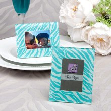 Aqua Blue Zebra Pattern Place Card Holder, Picture Frame Favors
