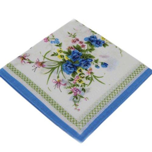 3 Pcs Vintage Handkerchiefs Ladies Pocket Flowers Handkerchief,  #08