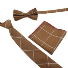 Fashionable Wedding Ties Set Necktie/Bow Tie/Pocket For Men, Light Brown
