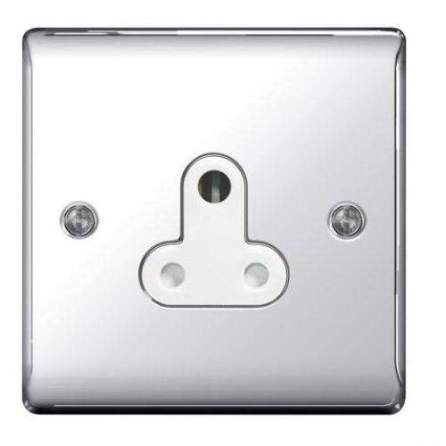 BG-Nexus-Metal 5A Single Round Pin Socket,Un-switched,Polished Chrome Finish,White Inserts