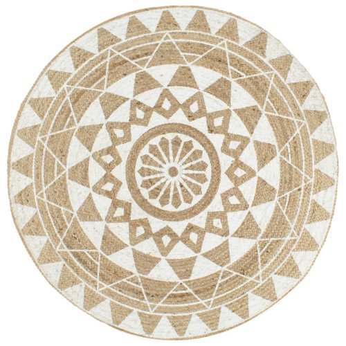 vidaXL Handmade Rug Jute with White Print 90cm Room Floor Protector Carpet