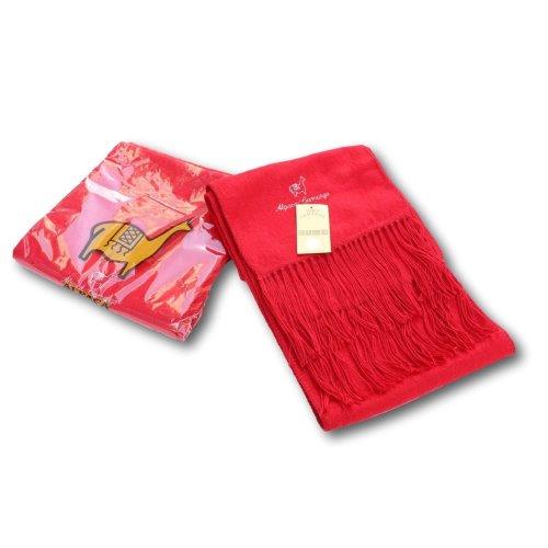 Alpaca Red Embroidered Scarf | Alpaca Wool & Acrylic Blend Scarf