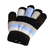 Multicolor Winter Warm Knit Gloves Plush-lined Mittens for Kids, #06