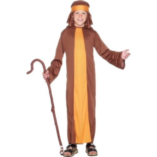 Smiffy's Children's Shepherd Costume, Robe And Headpiece, Ages 10-12, Colour: