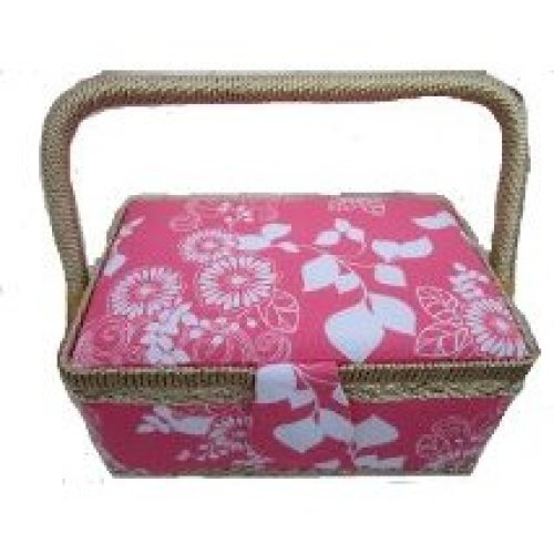 Rectangular Pink and White Fabric Sewing Box 22x14x12cm