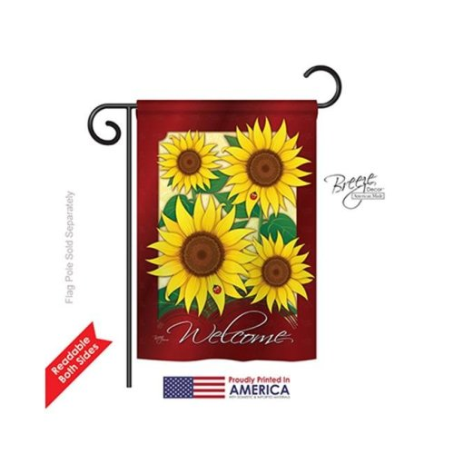 Breeze Decor 54067 Floral Welcome Sunflowers 2-Sided Impression Garden Flag - 13 x 18.5 in.