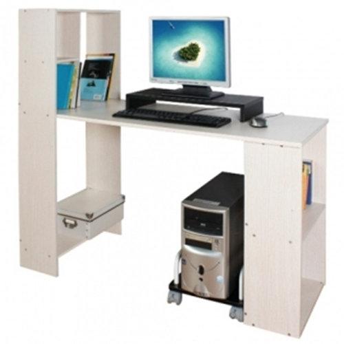 SPAN - Workstation / Office / Computer Desk with Storage Shelves - Light Oak