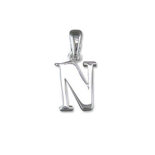 Childrens Sterling Silver Initial N Pendant On A Curb Necklace