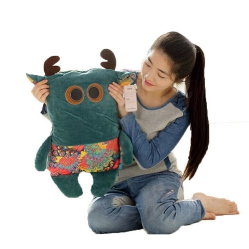 Deer, Bear Vizcacha Cat Pillow Dual-purpose Air Conditioning Blanket--Blue