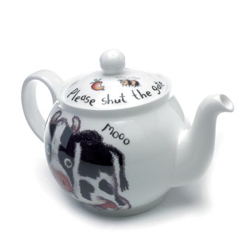 Roy Kirkham Bone China 6 Cup Teapot, Please Shut the Gate, Cow Design