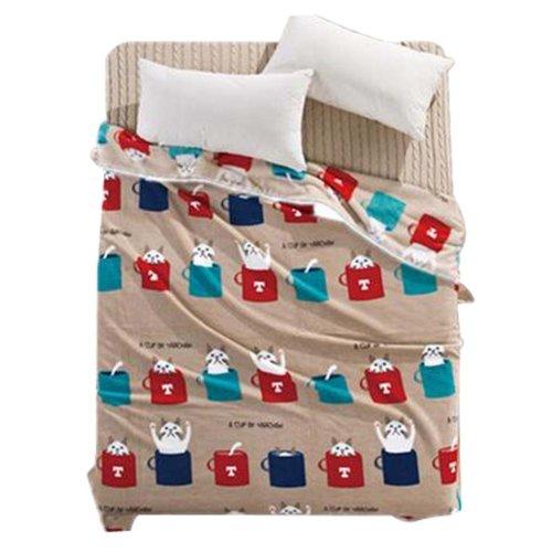 Blanket Air Conditioning Blanket Coral Carpet Adult Blanket Khaki