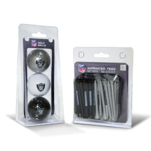 NFL Oakland Raiders 3 Golf Balls And 50 Golf Tees