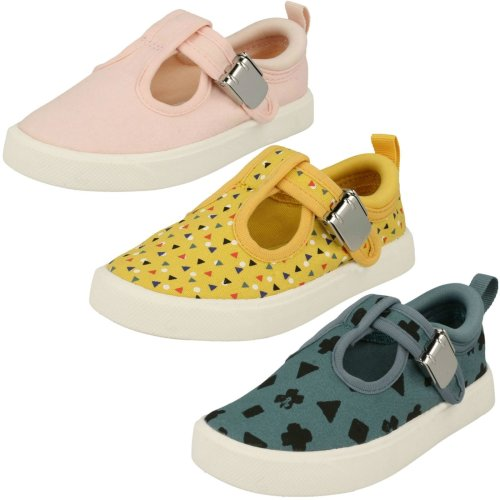 Childrens Boys Girls Clarks T-Bar Canvas Shoes City Spark - G Fit