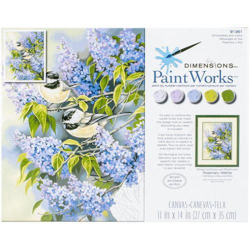 "Paint Works Paint By Number Kit 11""X14""-Chickadees & Lilacs"