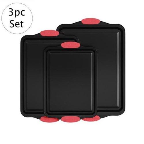 Classic Cuisine 82-KIT1090 3 Piece Nonstick Cookie Baking Pans Sheet Set