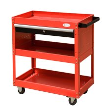 DURHAND 3-Tier Tool Trolley Cart Storage Shelf Roller Cabinet DIY Box Garage Workshop with Lockable Drawer Red