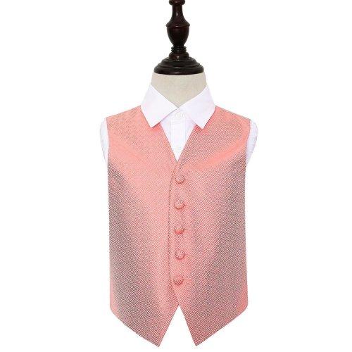 Coral Greek Key Wedding Waistcoat for Boys 24'