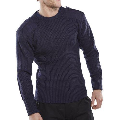 Click AMODCNL Acrylic MOD Military Style Sweater Crew Neck Navy Blue Large