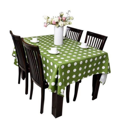 [Green Dots] Cotton Canvas Tablecloth / Table Cloth / Table Cover(51 x 78 Inch)