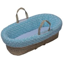 Baby Doll Bedding Rosey Chenille Moses Basket, Blue
