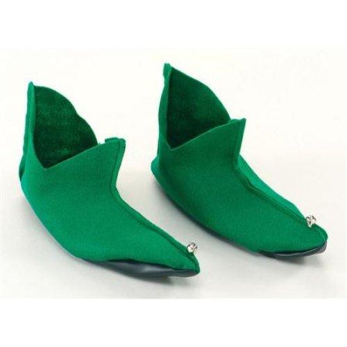 Green Felt Elf Pixie Shoes -  shoes fancy dress elf green felt pixie christmas elfpixie santa covers
