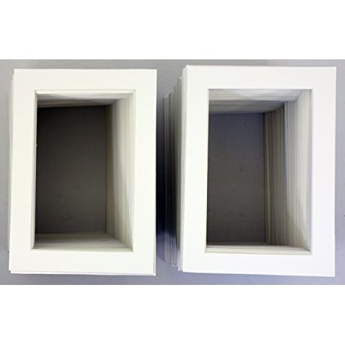 Pack of 200 5x7 WHITE Picture Mats Mattes with WHITE Core Bevel Cut for 4x6 Photo