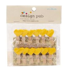 Mini Natural Wooden Clothespins Photo Paper Peg Pin Craft Clips with 2m Jute Twine, O