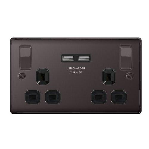 Masterplug NBN22UB 13 A 2 Gang Switched Socket with 2 x USB Port - Black Nickel