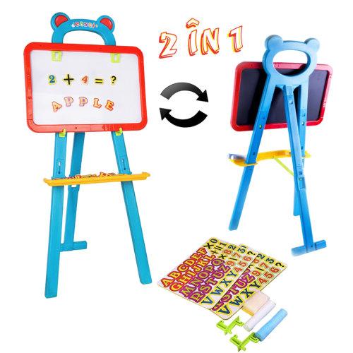 deAO Toys Kids' 3-in-1 Learning Easel | Whiteboard & Chalkboard Set