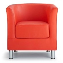 Sagony Designer Modern Tub Chair Red Padded Seat Chrome Legs