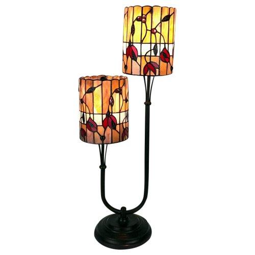 Twin Stem Tiffany Lamp Orange / Red 67cm