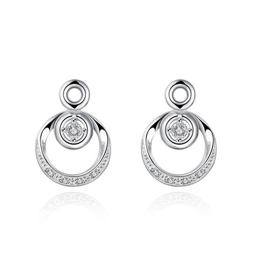 925 Silver Plated Round Crystal Drop Earrings