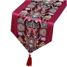 Chinese Classical Table Runner Traditional Satin Table-cloth - Purple