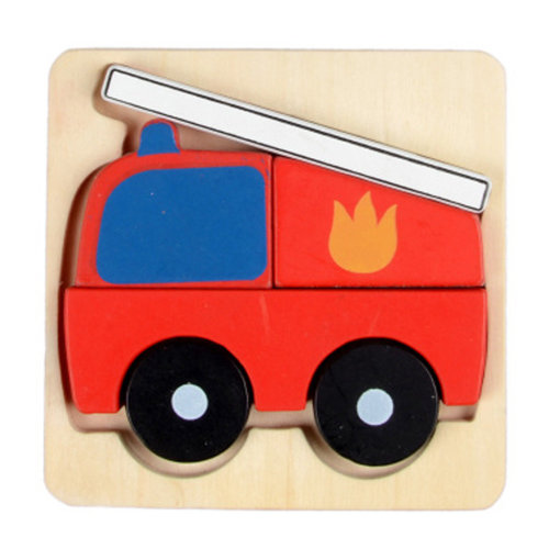 Colorful 3D Wooden Puzzle Kids Toy Infant Educational Animal Puzzle, Fire  Truck