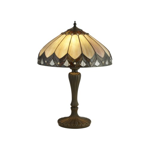 Searchlight Pearl Bronze/Black/Clear/Brown/Purple Tiffany Table Lamp