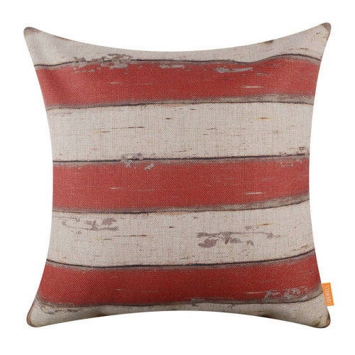 """18""""x18"""" Independence Day Red Stripe America Holiday Burlap Pillow Cover Cushion Cover"""