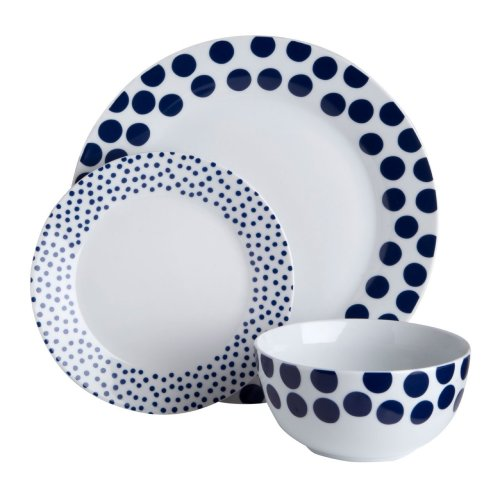 12Pc Blue Spot Design Dinner Set