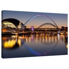 River Tyne Bridges Sunset Newcastle and Gateshead Canvas Wall Art Picture Print