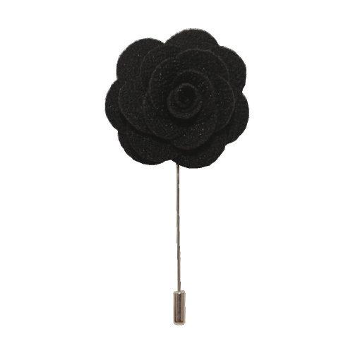 Black Handmade Flower/Rose Lapel Pin for wearing with men's suit jacket, blazer, dinner jacket or tuxedo jacket